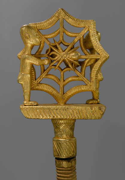 <B>Linguist Staff (<I>Oykeame</I>)</B>, 19th–20th century<BR>Ghana; Akan, Asante<BR>Gold foil, wood, nails; H. 61 5/8 in. (156.53 cm)<BR>Gift of the Richard J. Faletti Family, 1986 (1986.475a-c)<BR> photography by mma, Digital File DT5040.tif retouched by film and media (jnc) 9_9_10