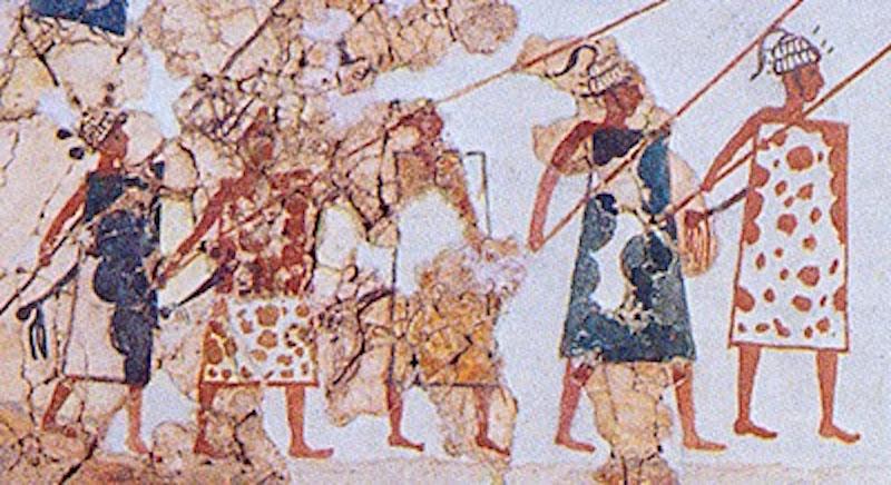 Akrotiri fresco ca 1600 showing warriors with rectangular shields and boar tusk helmets